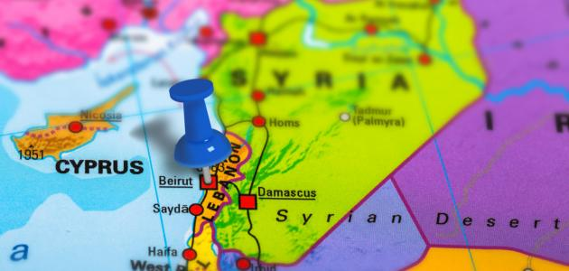صورة أين تقع لبنان